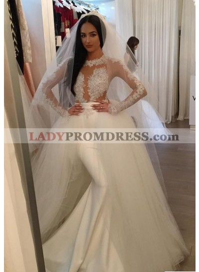2020 Sexy Satin Long Sleeves Wedding Dresses With Detachable Tulle Train
