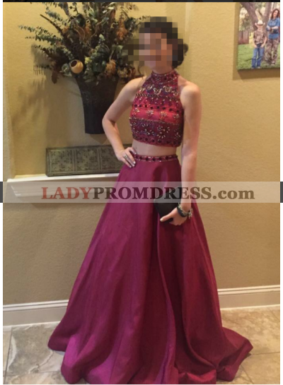 A-Line/Princess Satin Burgundy 2021 Two Pieces Prom Dresses