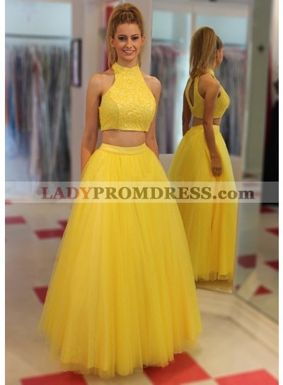 A-Line/Princess Tulle Two Pieces Daffodil Prom Dresses 2019 Two Pieces