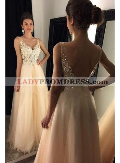 V-Neck Backless Beading A-Line/Princess Tulle Champagne Prom Dresses