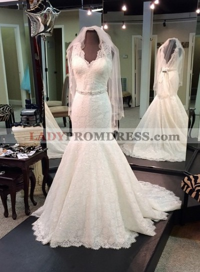 2021 Charming Mermaid Lace V Neck With Beaded Belt Wedding Dresses
