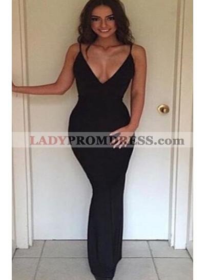 Sexy Trumpet/Mermaid Black V Neck 2021 Prom Dresses