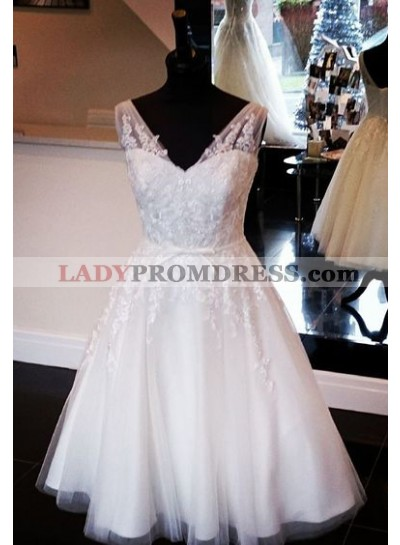 A Line Tulle Knee Length With Bowknot Belt 2021 Short Wedding Dresses