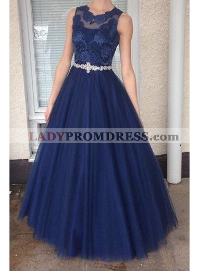2021 A-Line/Princess Tulle Dark Navy Prom Dresses With Appliques