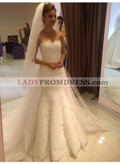 2021 High Quality Lace Sweetheart Long Wedding Dresses