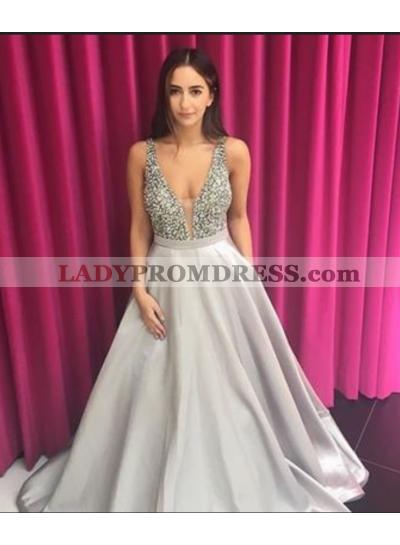 2021 New Satin Silver A-Line/Princess V Prom Dresses