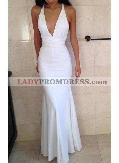Charming Trumpet/Mermaid Halter White Satin 2021 Prom Dresses