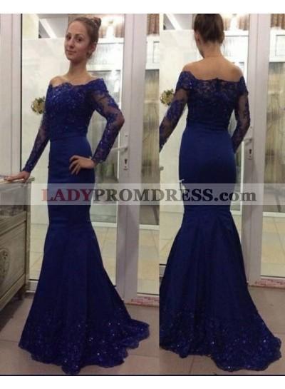 Trumpet/Mermaid Royal Blue Long Sleeves 2019 Prom Dresses