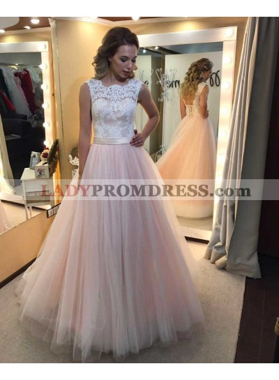 2020 Cheap A-Line/Princess Tulle Blushing Pink Prom Dresses With Appliques