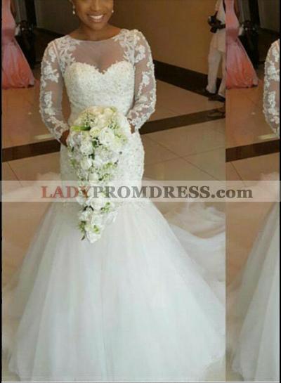 2021 Mermaid Long Sleeves Tulle Over Tulle Wedding Dresses