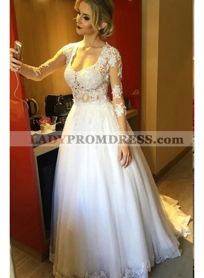 Elegant A Line Tulle With Appliques Long Sleeves 2021 Wedding Dresses