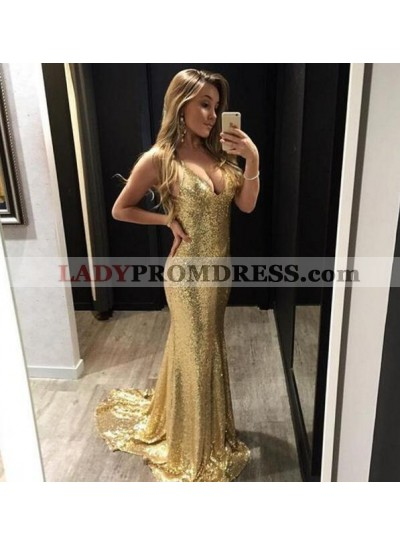 Sexy Gold Sequence Halter 2021 Prom Dresses