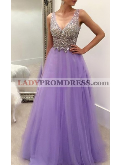 2020 Elegant A-Line/Princess Tulle V Neck Beaded Prom Dresses
