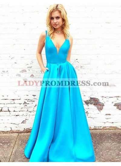 A-Line/Princess Blue Sweetheart Neck Satin 2021 Newly Prom Dresses
