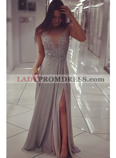 A-Line/Princess Chiffon Silver Beaded 2021 Prom Dresses