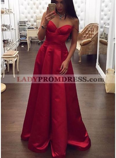 Elegant Sweetheart Satin A-Line/Princess Red 2020 Prom Dresses