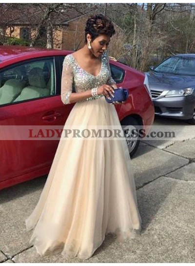 Glamorous Crystal Floor-Length/Long A-Line/Princess Tulle Prom Dresses