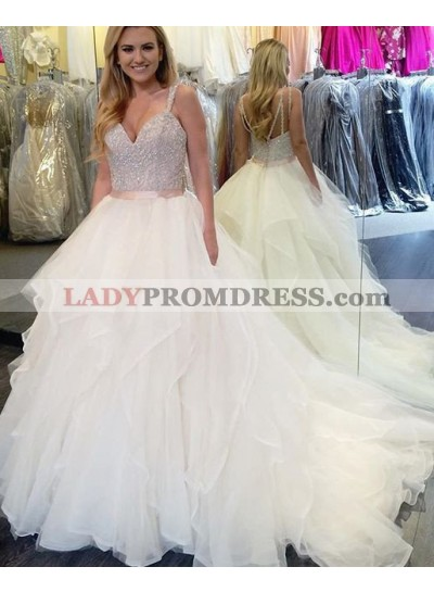 2020 Unique White Sequins Sweep/Brush Train Sleeveless A-Line/Princess Organza Prom Dresses