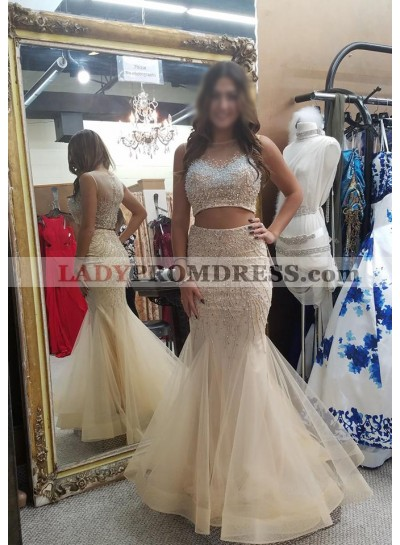 Sexy Trumpet/Mermaid Ivory Two Pieces 2020 Tulle Prom Dresses