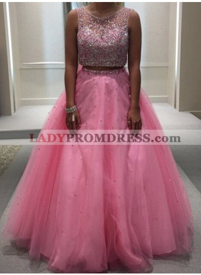 Beading Ball Gown Tulle Two Pieces 2021 Glamorous Pink Prom Dresses