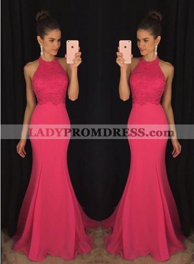 Sleeveless Halter Mermaid/Trumpet Chiffon Prom Dresses