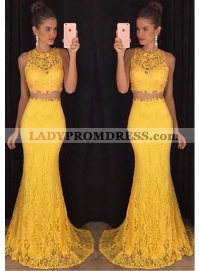 Sweep/Brush Train Sleeveless Mermaid/Trumpet Lace Yellow Prom Dresses