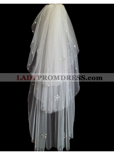 Quite Great 3 Layers Wedding Veil With Beading