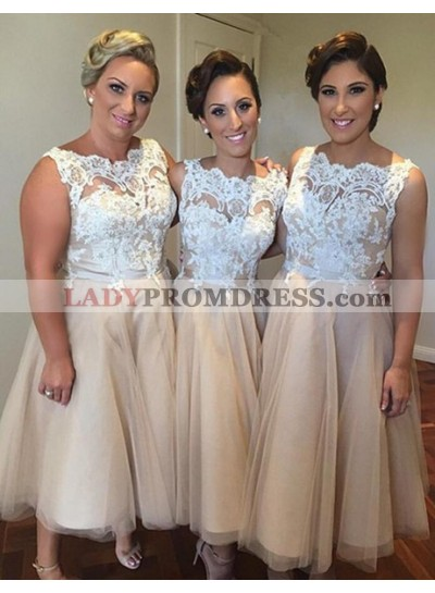 2021 Cheap A Line Champagne Tulle Knee Length Bridesmaid Dresses / Gowns