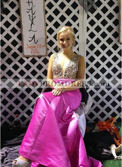 Round Neck Sleeveless Crystal A-Line/Princess Satin Prom Dresses