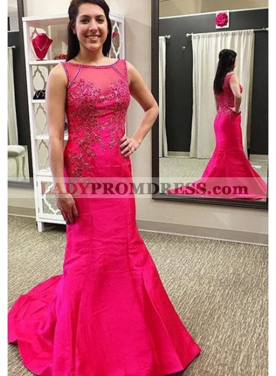 Bateau Beading Mermaid/Trumpet Satin 2018 Gorgeous Red Prom Dresses