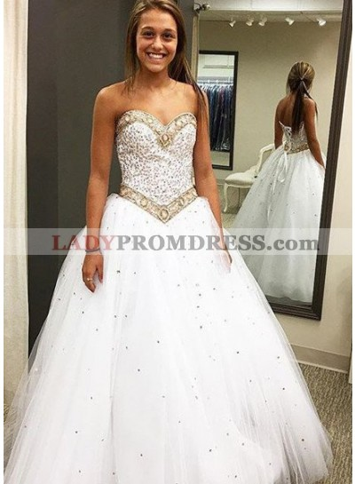 2020 Unique White Prom Dresses Sweetheart Beading Lace Up A-Line/Princess Tulle