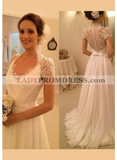 Chiffon Floor-Length A-Line/Princess Short Sleeve Bateau Covered Button Wedding Dresses / Gowns With Appliqued