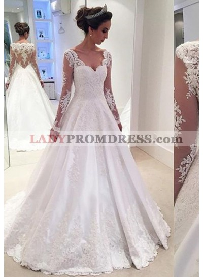 Elastic Satin Floor-Length A-Line/Princess Long Sleeve Sweetheart Zipper Up At Side Wedding Dresses / Gowns With Appliqued