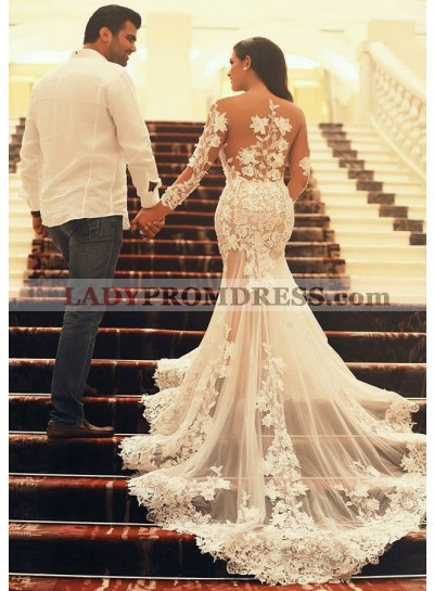 Tulle Sweep Train Trumpet/Mermaid Long Sleeve Sweetheart Zipper Up At Side Wedding Dresses / Gowns With Appliqued