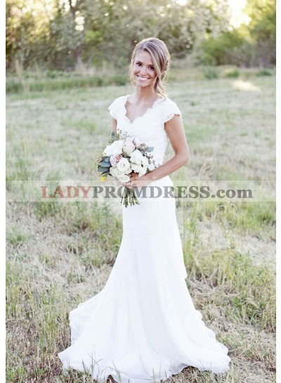 Chiffon Sweep Train Sheath/Column Sleeveless V-Neck Covered Button Wedding Dresses / Gowns With Appliqued