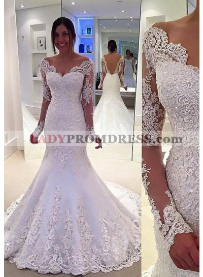 Lace Sweep Train Trumpet/Mermaid Long Sleeve Sweetheart Covered Button Wedding Dresses / Gowns With Appliqued
