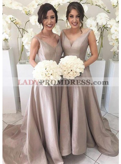 Satin Sweep Train A-Line/Princess Sleeveless V-Neck Zipper Bridesmaid Dresses / Gowns