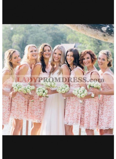 Chiffon Bridesmaid Dresses / Gowns A-Line/Princess Scoop Neck Short/Mini With Lace