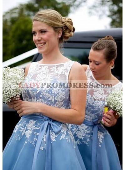 Chiffon Bridesmaid Dresses / Gowns A-Line/Princess Bateau Tea-Length With Appliqued