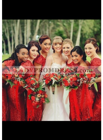Sequined Bridesmaid Dresses / Gowns Sheath/Column Bateau Sweep Train With Sequins