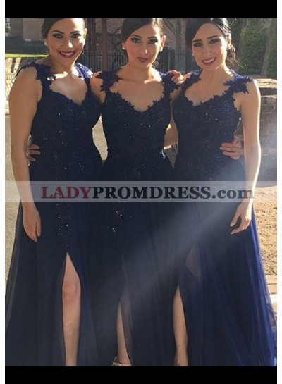 Chiffon Bridesmaid Dresses / Gowns A-Line/Princess V-Neck Sweep Train With Crystal Detailing