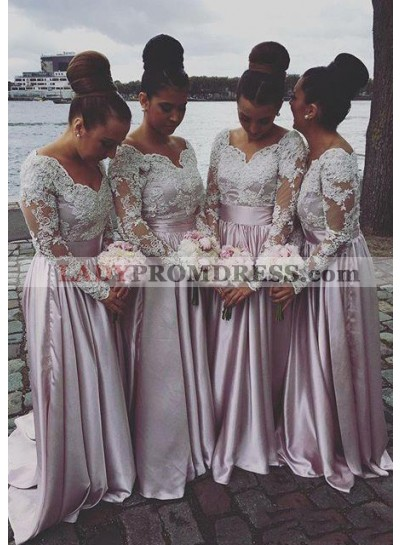 Satin Bridesmaid Dresses / Gowns A-Line/Princess Sweetheart Sweep Train With Lace
