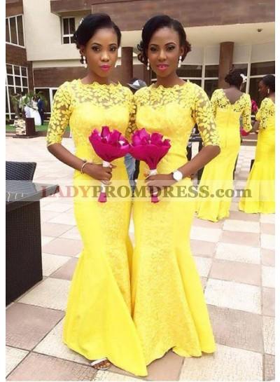 Chiffon Bridesmaid Dresses / Gowns Sheath/Column Bateau Sweep Train With Lace