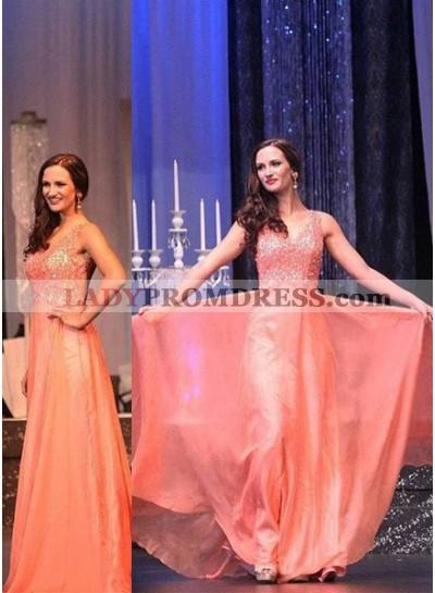 Beading V-Neck Chiffon Prom Dresses