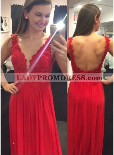 2018 Gorgeous Red Appliques Backless Chiffon Prom Dresses