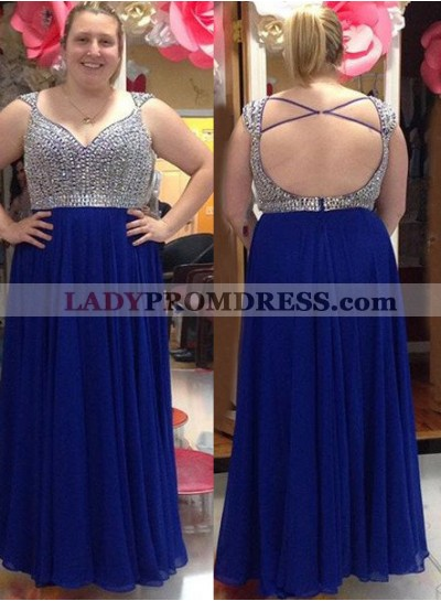 LadyPromDress 2019 Blue Beading Criss-Cross Chiffon Prom Dresses