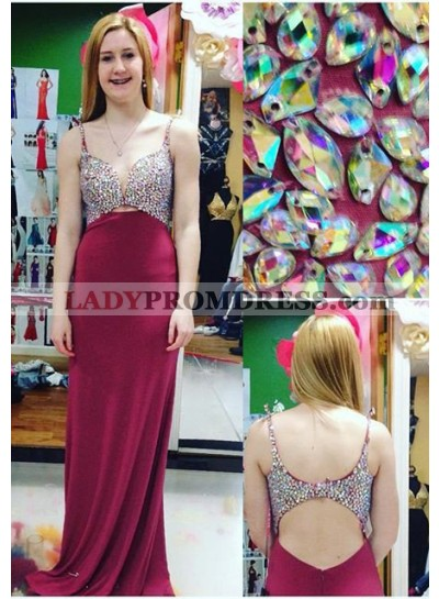 2018 Gorgeous Red Prom Dresses Straps Crystal Sweep Train Column/Sheath