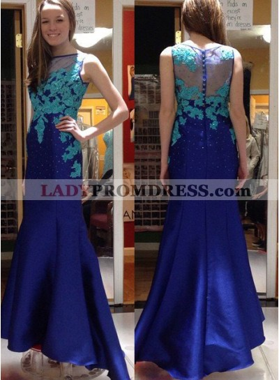 Bateau Appliques Mermaid/Trumpet Satin Royal Blue Prom Dresses