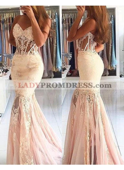 Charming Beading Mermaid/Trumpet Lace Prom Dresses