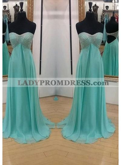 Beading Sweetheart Backless A-Line/Princess Chiffon Prom Dresses